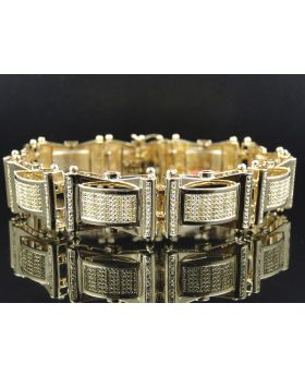 Pave Diamond 8.5 Inch Bracelet Finished in Yellow Gold (2.0 Ct)