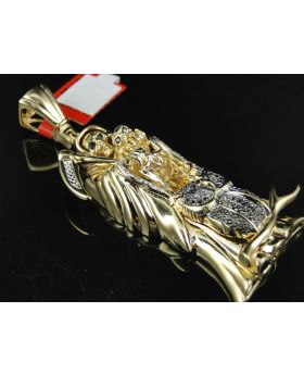 Grim Reaper 14K Yellow Gold Finish Diamond Pendant
