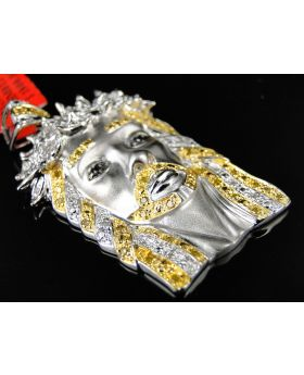 Jesus Face Canary and White Diamond Pendant