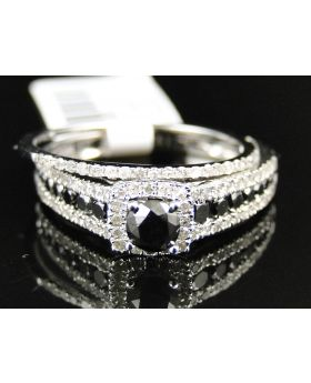 14K White Gold Ladies Bridal Engagement Diamond Solitaire Ring Set