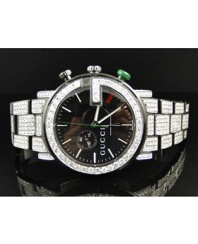 Mens Fully Iced Out Diamond Gucci Watch 12 Ct