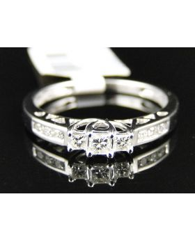 14K White Gold 3 Stone Princess Diamond Engagement Ring 1/4 Ct