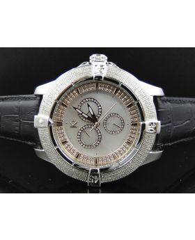 White Finish Techno Com KC White Mother Pearl Face Diamond Watch