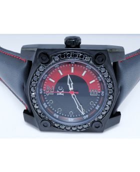 Black Techno Com KC Red Black Face Diamond Watch