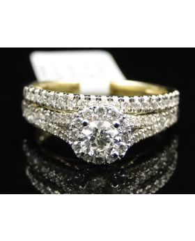 14k Yellow Gold Round Cut Solitaire Diamond Ring Set 1.0 Ct