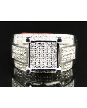 Ladies White Gold Finish Pave Diamond Ring 0.33 Ct
