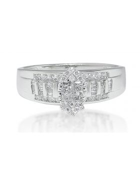 Marquise Style Diamond Engagement Ring in 10K White Gold (0.50 Ct)