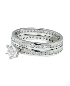 Round Cut Solitaire Diamond Eternity Engagement Ring in 14K White Gold (1.40 Ct)