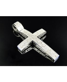 Large Genuine Diamond Cross Finished In 10K White Gold (1.25 Ct)