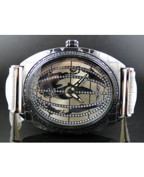 King Master Rectangle Globe Black Diamond Watch