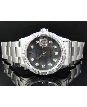 Rolex Datejust Stainless Steel with Black Pearl Dial Diamond Watch (2.15)