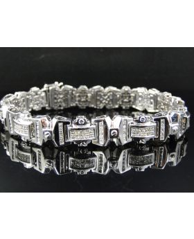 Princess Cut Diamond 8.5 Inch Bracelet set in 14K White Gold (6.75 ct)