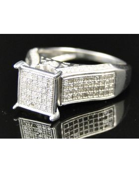 Ladies White Gold Finish Pave Diamond Ring 0.75 Ct