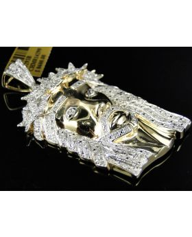Solid Yellow Gold Finish Diamond Jesus Head 2.1 Inches 1.2 Ct