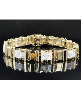 Pave Diamond 8.0 Inch Bracelet set in 10K Yellow Gold (3.75 ct)
