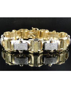 Pave Canary Diamond 8 Inch Bracelet set in 10K Yellow Gold (5 ct)