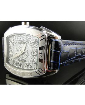 King Master Rounded Black & Blue Reptile Diamond Watch