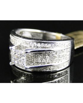 Pave Diamond Engagement Ring set in 10K White Gold (0.65 Ct)