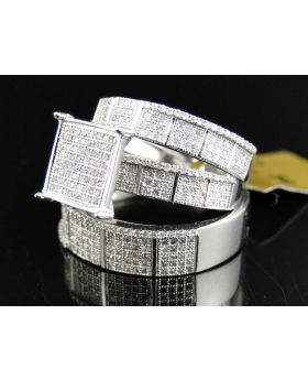Pave Diamond Trio Ring set in 10K White Gold (1.25 Ct)