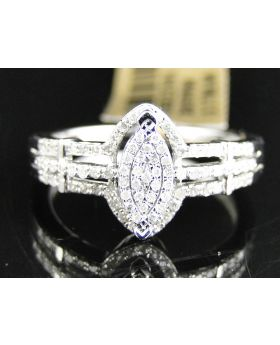Pave Diamond Marquise Style Ring set in 10K White Gold (0.28 Ct)
