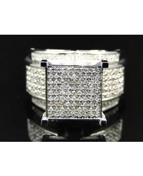 Ladies White Gold Finish Pave Diamond Engagement Ring 0.50 Ct