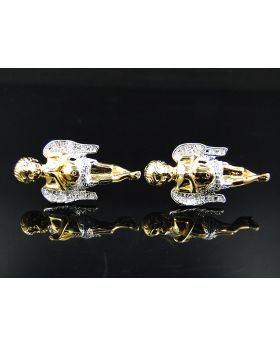 Genuine Diamond Unique Angel Stud Earrings in Yellow Gold Finish .20ct