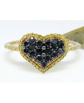 Black and Canary Diamond Heart Ring set in 10K Yellow Gold (0.65 Ct)