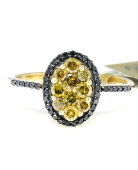 Canary Diamond Oval Ring set in 10K Yellow Gold (0.70 Ct)