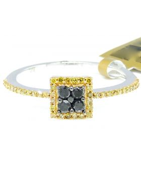 Black Canary Diamond Square Ring set in 10K White Gold (0.35 Ct)
