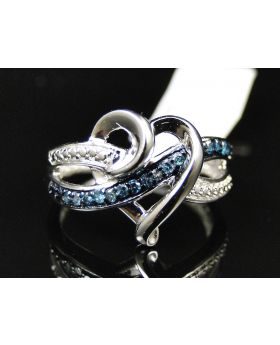 Ladies White Gold Finish Pave Blue Diamond Heart Ring 0.15 Ct