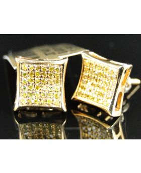 Canary Diamond Kite 9 MM Earring set in 10k Yellow Gold (0.35 Ct)