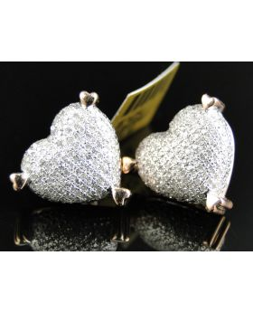 White Diamond Heart 15 MM Earring set in 10k Rose Gold (1.10 Ct)