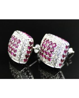 White Diamond and Ruby Pillow Earrings in 10K White Gold (6.0 Ct)
