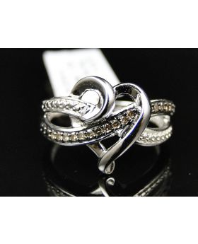 Ladies White Gold Finish Pave Brown Diamond Heart Ring 0.15 Ct