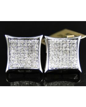White Diamond 12 MM Kite Earring set in 10k White Gold (0.70 Ct)
