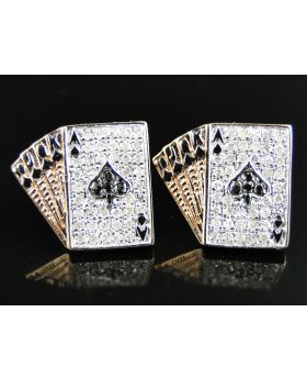 "White Diamond Poker ""Straight"" Aces 13 MM Earring set in 10k Rose Gold (0.70 Ct)"