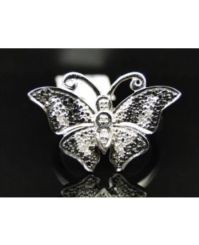 Ladies White Gold Finish Black and White Diamond Butterfly Fashion Ring 0.50 Ct
