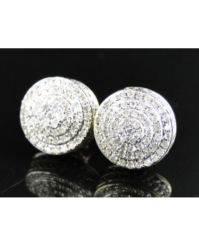 White Diamond Round Dome Shape 10 MM Earring set in 10k Yellow Gold (1.0 Ct)