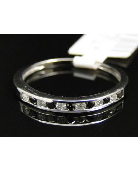 10K Ladies White Gold White Black Diamond Wedding Fashion Band Ring 2.5 mm
