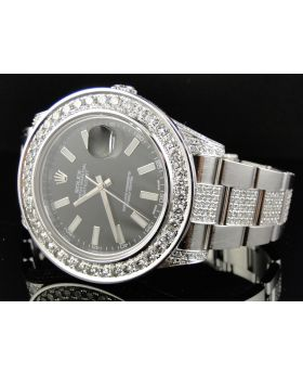 Rolex Datejust II Watch w/ Custom Set Diamonds (12.5 ct)