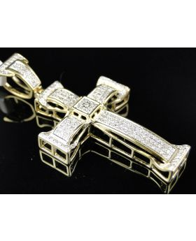 Pave Diamond Cross set in 10K Yellow Gold 1.75 Inches