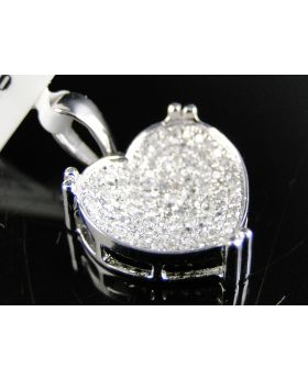 Heart Love Diamond Pendant set in 14K White Gold (0.33 Ct)