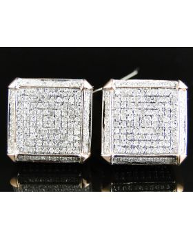 XL Cube 3D Diamond Earrings set in 10k Rose Gold (1.20 Ct)