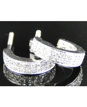 2 Row Diamond Hoop Earrings set in 10k White Gold (0.50 Ct)