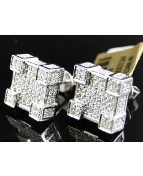 3D Square Cube Diamond Earrings set in 10k White Gold (2.50 Ct)