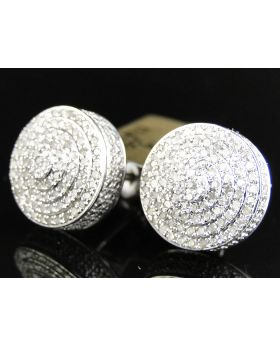 Round Circle Dome Diamond Earrings set in 10k White Gold (1.20 Ct)