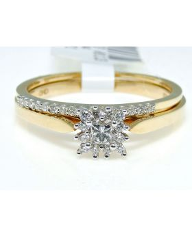 Two-Piece Cluster Diamond Engagement Ring Set in 10K