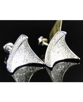 Concave 3D Triangle Diamond Earrings set in 10k White Gold (1.92 Ct)