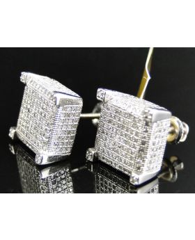 XL 3D Block Diamond Earrings set in 10k White Gold (1.35 Ct)