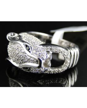 White Gold Finish Diamond Panther Ring 1.0 Ct